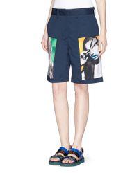 Acne Studios Blue 'eora' Portrait Print Twill Shorts