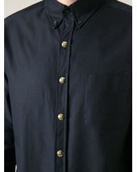 Moncler Gamme Bleu Blue Goldtone Snap Button Fastening Shirt for men