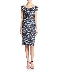 Teri Jon Blue Off-shoulder Printed Sheath Dress