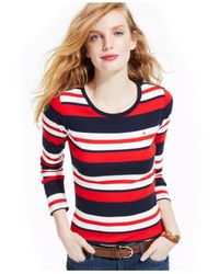 Tommy Hilfiger Blue Long-Sleeve Striped Crew-Neck Tee