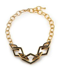 Kenneth Jay Lane | Metallic Kite Open Link & Chain Necklace | Lyst