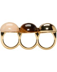 Chloé - Pink Marble Gold Band Ellie Triple Ring - Lyst