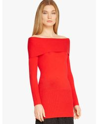 Halston - Red Off Shoulder Cashmere Sweater - Lyst