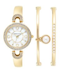 Anne Klein | Metallic 3-piece Swarovski Crystal And Faux Pearl Watch And Bracelet Set | Lyst