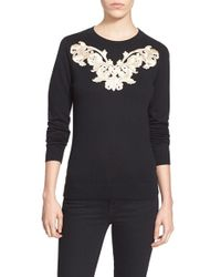 Ted Baker - Black 'slinda' Metallic Embroidered Sweater - Lyst