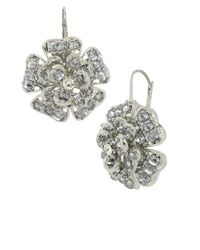 Betsey Johnson | Metallic Crystallized Flower Drop Earrings | Lyst