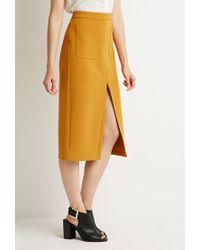 Forever 21 | Orange Front Slit Pencil Skirt | Lyst