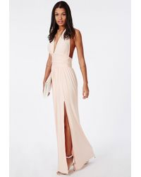 Missguided - Natural Slinky Halterneck Maxi Dress Nude - Lyst