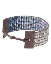 Chan Luu Blue Cuff Bracelet With Swarovski Crystals