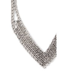 Forever 21 - Metallic Mixed Chain Chevron Necklace - Lyst