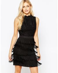 Oasis | Black Lace Fringed Shift Dress | Lyst
