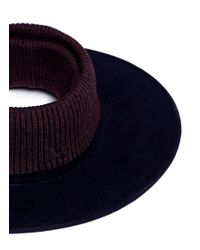 Maison Michel Blue 'mathias' Rib Knit Topless Furfelt Hat