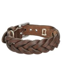 Fossil | Brown Braided Leather Bracelet for Men | Lyst