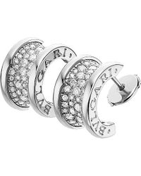 BVLGARI | Metallic B.Zero1 18Ct White-Gold And Diamond Earrings | Lyst