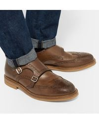 Brunello Cucinelli - Brown Leather Monk-strap Wingtip Brogues for Men - Lyst