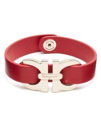 Ferragamo Red Double Gancini Single Wrap Bracelet