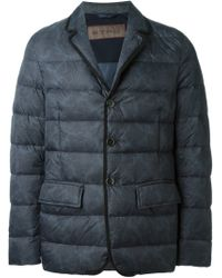 Etro - Gray Paisley Padded Jacket for Men - Lyst