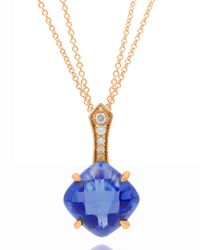 Frederic Sage - 18k Pink Gold Blue Topaz/diamond Pendant Necklace - Lyst