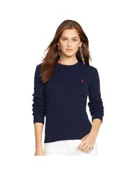 Polo Ralph Lauren - Blue Cabled Crewneck Sweater - Lyst