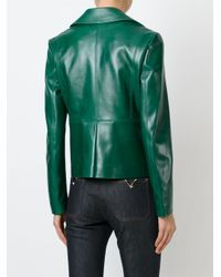 Valentino Green Heavy Leather Cropped Jacket