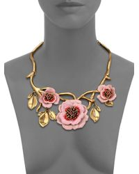 Oscar de la Renta | Pink Painted Flower Necklace | Lyst