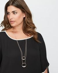 Addition Elle - Metallic 2-layer Necklace With Ring Pendant - Lyst