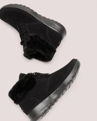 Addition Elle - Black Wide Width Lace-up Bootie With Faux-fur - Skechers - Lyst