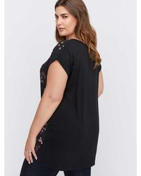 Addition Elle - Black Michel Studio Premium Essential Mixed Fabric V-neck Top - Lyst
