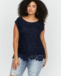 Addition Elle - Blue Michel Studio Boxy Sleeveless Top With Lace - Lyst