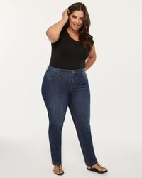 e3a6dc50bb84d9 Addition Elle. Women's Blue Petite Slightly Curvy Fit Straight Leg Jean ...