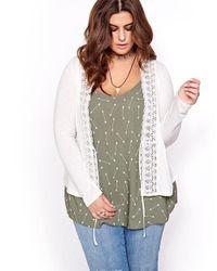 Addition Elle Multicolor L&l Long Sleeve V-neck Cardigan