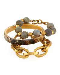 Ashley Pittman - Metallic Three-piece Bangle/bracelet Set - Lyst