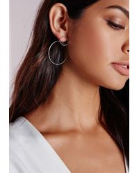 Missguided | Metallic Double Circle Earrings | Lyst