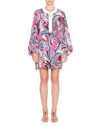 Emilio Pucci - Pink Long-sleeve Silk-blend Cady Tunic - Lyst