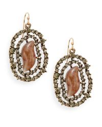 Saks Fifth Avenue | Brown Webbed Sparkle Earrings | Lyst
