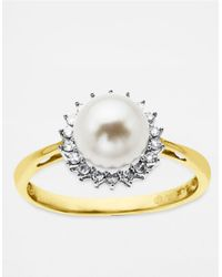 Lord & Taylor | White Gold Diamond And Freshwater Pearl Ring In 14 Kt. Gold 7mm | Lyst