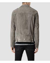 AllSaints Gray Murphy Leather Biker Jacket for men
