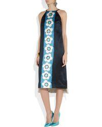 Miu Miu Blue Printed Silk-Satin Dress