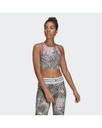 Adidas Pink By Stella McCartney TruePurpose Allover-Print Crop-Top