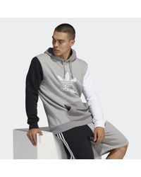 Adidas Blocked Trefoil Hoodie in Gray für Herren
