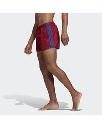 Adidas 3-stripes Allover Print Zwemshort in het Red voor heren