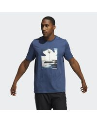 Adidas Blue Slept On Graphic T-shirt for men
