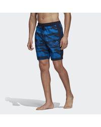 Adidas 3-stripes Clx Graphic Zwemshort in het Blue voor heren