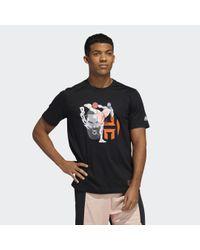 T-shirt Harden Geek Up Kick di Adidas in Black da Uomo