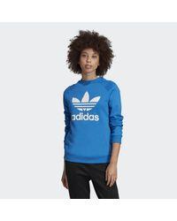 Felpa Trefoil Crewneck di Adidas in Blue