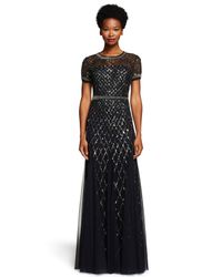 Adrianna Papell | Black Cap Sleeve Beaded Gown | Lyst