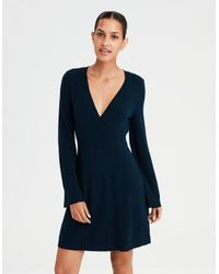 1456ca7c2a0 American Eagle Ae Wrap Front Sweater Dress in Blue - Lyst