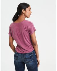 American Eagle Pink Ae Soft & Sexy Cinch Front Dolman Tee