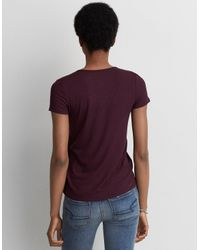 American Eagle Purple Soft & Sexy Cage Front T-shirt