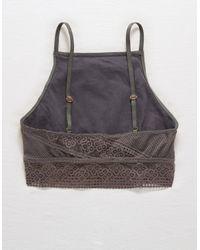 American Eagle Gray Crochet Lace High Neck Bralette